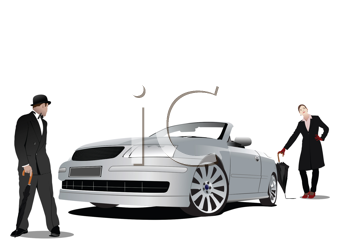 Gentleman and lady  with umbrella and silver cabriolet. Vector illustration