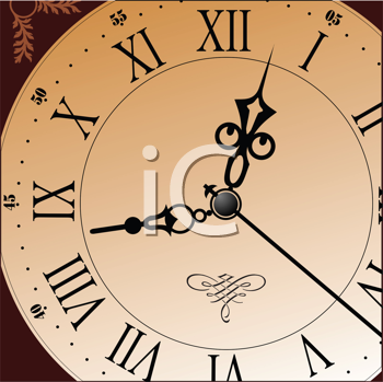 Royalty Free Clipart Image of an Old Clock Face