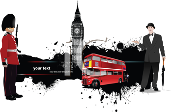 Royalty Free Clipart Image of a Grunge Banner With London Images