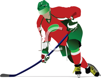 Royalty Free Clipart Image of a Hockey Player in Green and Red