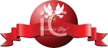 Royalty Free Clipart Image of a Valentine's Day Greeting With Birds and a Ribbon