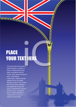 Royalty Free Clipart Image of a Zipper Opening a British Flag