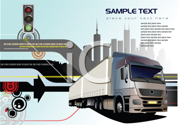 Royalty Free Clipart Image of a Truck With a Light and Building