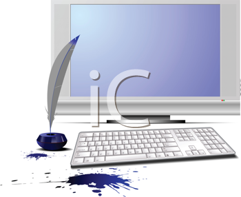 Royalty Free Clipart Image of a Quill Pen and a Computer With Spilled Ink