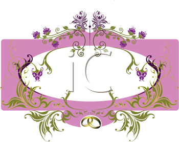 Royalty Free Clipart Image of an Ornate Oval Frame on Pink