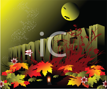Royalty Free Clipart Image of a Halloween Background With Leaves