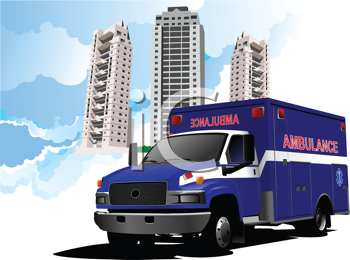Dormitory and ambulance. Vector illustration
