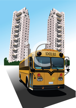 Dormitory and school bus. Vector illustration
