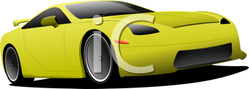 Yellow car on the road. Vector illustration