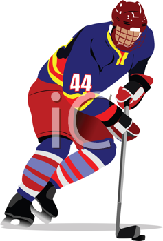 Ice hockey players. Colored Vector illustration for designers