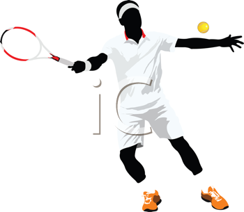 Tennis player. Colored Vector illustration for designers