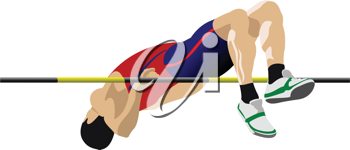 Man high jumping. Track and field. Vector illustration