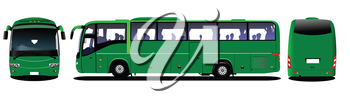 City bus. Tourist coach. Frontal, rear, side view. Vector illustration