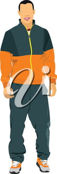 Young man in sport suit. Duffle. Vector illustration