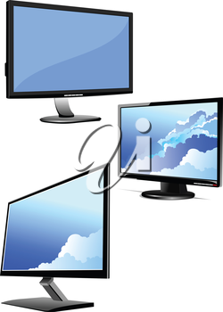 Set of Flat computer monitor. Display. Vector illustration