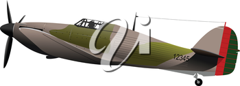 Air force. Old combat airplane. Vector illustration