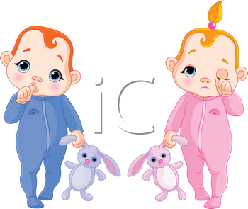 Royalty Free Clipart Image of Two Sleepy Babies