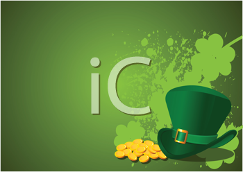 Royalty Free Clipart Image of a St. Patrick's Theme With a Leprechaun's Hat and Shamrocks