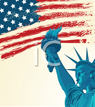 Royalty Free Clipart Image of a Grunge American Flag With The Statue of Liberty