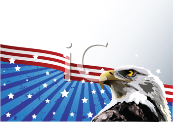 Royalty Free Clipart Image of a Bald Eagle in Front of an American Flag