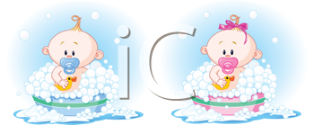 Royalty Free Clipart Image of Cute Babies Taking a Bath