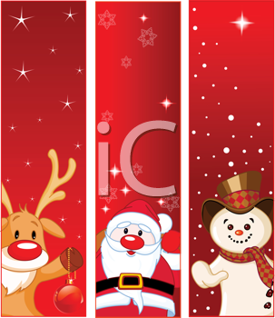 Royalty Free Clipart Image of Christmas Banners With Snowmen, Santa and Rudolph
