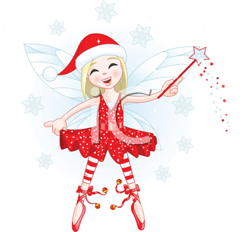 Royalty Free Clipart Image of a Christmas Fairy Flying