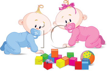 Royalty Free Clipart Image of Toddlers Playing With Toys