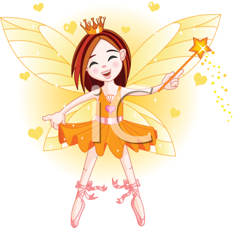 Royalty Free Clipart Image of  a Ballerina Faerie Flying