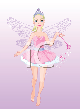 Royalty Free Clipart Image of a Fairy in Flight Holding a Magical Wand