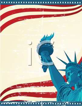 Royalty Free Clipart Image of a Grunge Poster With The Statue of Liberty