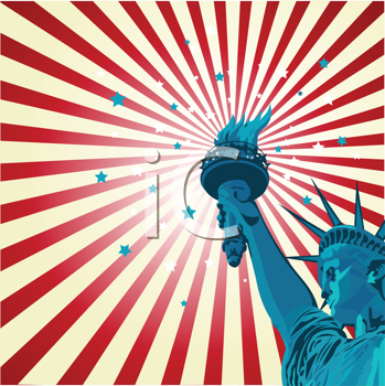 Royalty Free Clipart Image of a Radial Poster With the Statue of Liberty