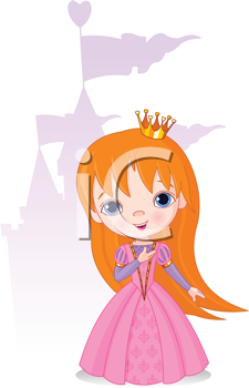 Royalty Free Clipart Image of a Princess and a Castle in the Background