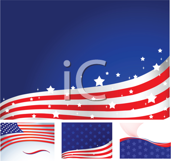Royalty Free Clipart Image of a Set of American Flag Backgrounds