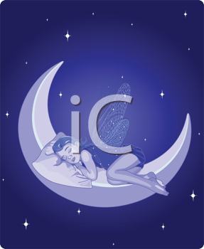 Royalty Free Clipart Image of a Fairy Sleeping on The Moon