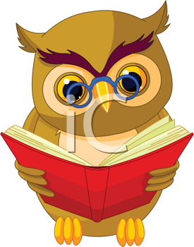 Royalty Free Clipart Image of an Owl Reading