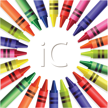 Royalty Free Clipart Image of a Crayon Wheel