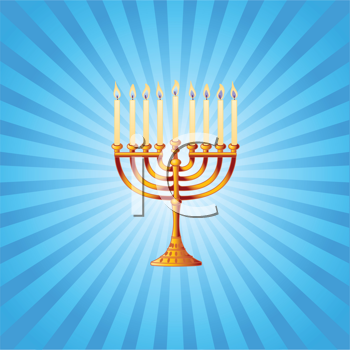Royalty Free Clipart Image of a Radial Background With Menorah