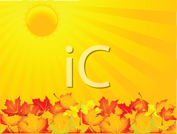 Royalty Free Clipart Image of a Sun on Autumn Leaves