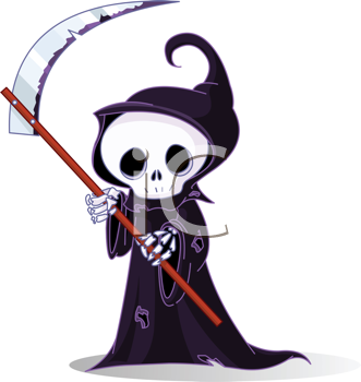 Royalty Free Clipart Image of a Cute Little Grim Reaper With a Scythe