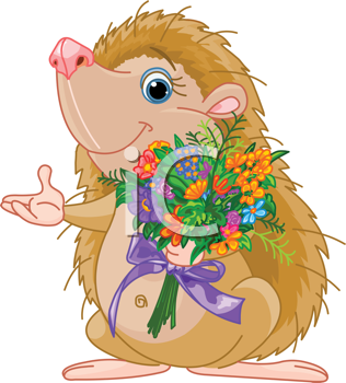 Royalty Free Clipart Image of a Hedgehog With Flowers