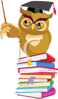 Royalty Free Clipart Image of an Owl on a Pile of Books