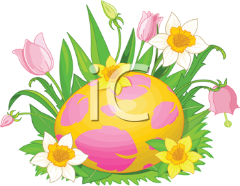 Illustration of beautiful Easter egg in a grass and flowers