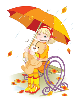 Little girl and Teddy Bear under umbrella