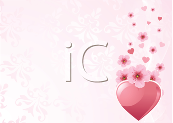 Love heart and pink cherry blossom design
