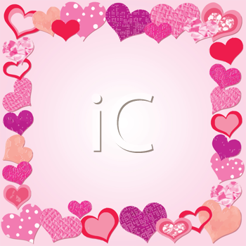 Valentine Day Pink frame with hearts