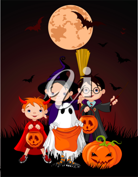 Halloween background with children trick or treating in Halloween costume