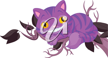 Royalty Free Clipart Image of a Cat in a Tree