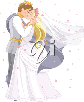 Royalty Free Clipart Image of a Fairy Tale Wedding