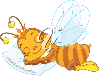 Royalty Free Clipart Image of a Sleeping Queen Bee